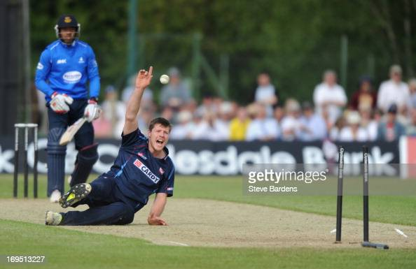 Matt Coles of Kent appeals for a wicket after Chris Jordan of Sussex plays the ball onto the opposite stumps during the Yorkshire Bank 40 match...