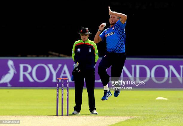 Matt Coles of Kent bowls during the Royal London OneDay Cup match between Essex and Kent at the Ford County Ground on June 15 2016 in Chelmsford...