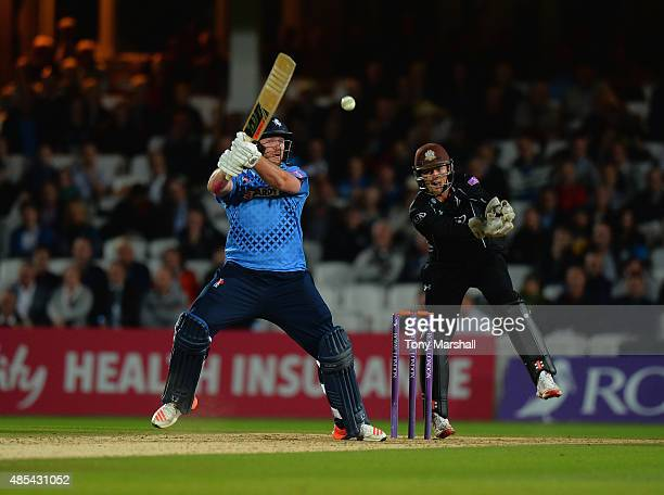 Matt Coles of Kent hits out during the Royal London OneDay Cup Quarter Final match between Surrey and Kent at The Kia Oval on August 27 2015 in...