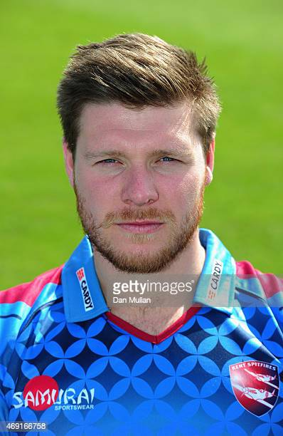 Matt Coles of Kent poses during the Kent CCC Photocall on April 10 2015 in Canterbury England