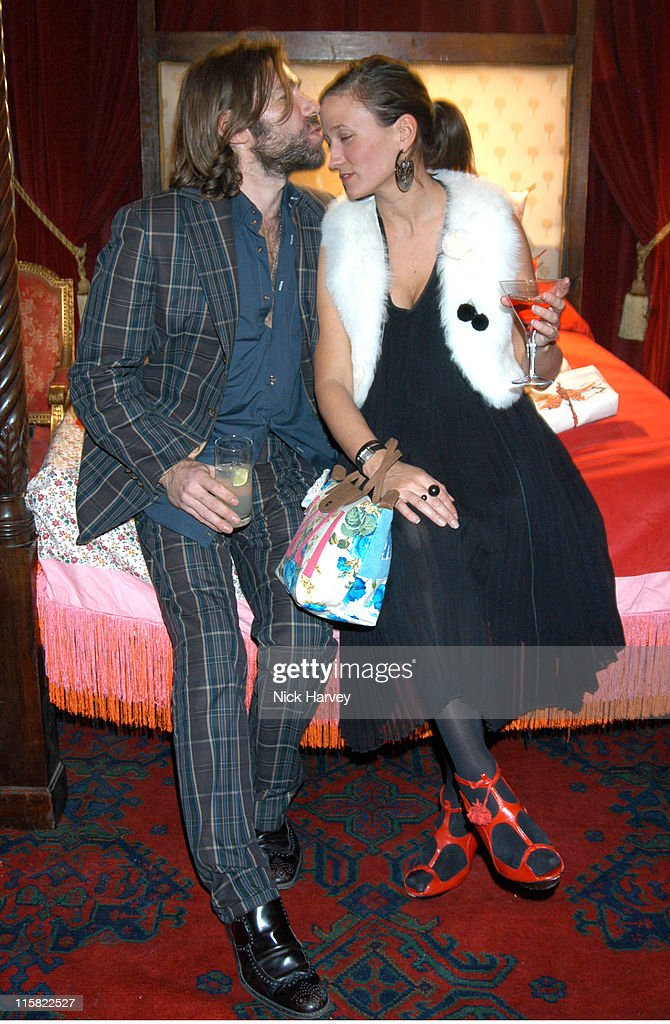 Matt Collishaw and Lulu Kennedy during Tracey Emin Longchamp Bag Launch at 33 Portland Place in London Great Britain