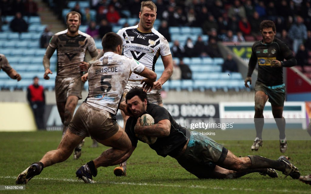Matt Cook of the London Broncos Scores a try during the Super League match between London Broncos and Hull at Twickenham Stoop on March 23, 2013 in London, England.
