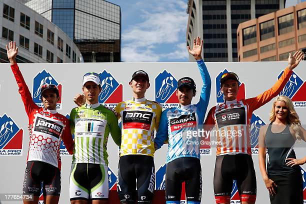Matt Cooke of team JamisHagens Berman in the red Nissan King of the Mountain jersey Peter Sagan of Slovakia and Cannondale Pro Cycling in the green...