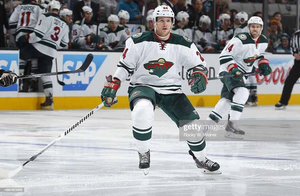 Matt Cooke of the Minnesota Wild skates against the San Jose Sharks at SAP Center on January 25 2014 in San Jose California