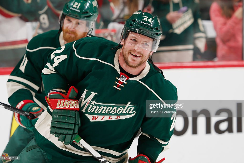 Matt Cooke of the Minnesota Wild warms up prior to Game Three of the Western Conference Semifinals during the 2015 NHL Stanley Cup Playoffs against...