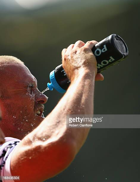 Matt Cooper of the Dragons looks to cool down during the round one NRL match between the Melbourne Storm and the St George Illawarra Dragons at AAMI...