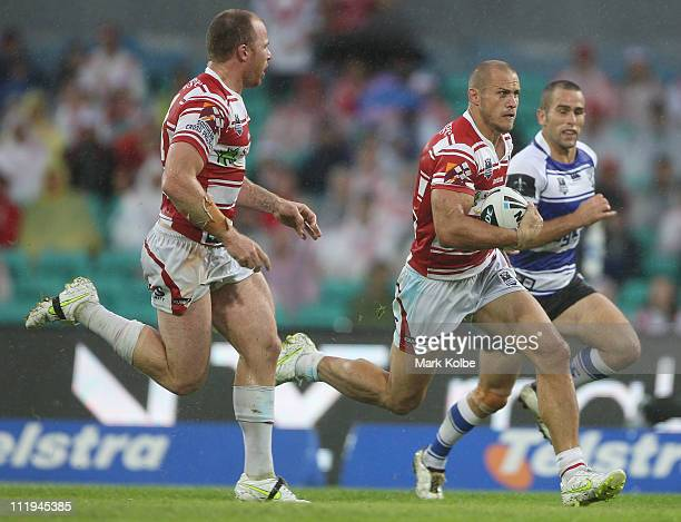 Matt Cooper of the Dragons makes a break during the round five NRL match between the St George Illawarra Dragons and the Canterbury Bulldogs at the...