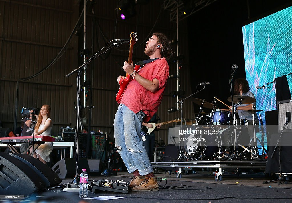 Matt Corby performs live on stage at The Falls Music and Arts Festival on December 31, 2012 in Lorne, Australia.