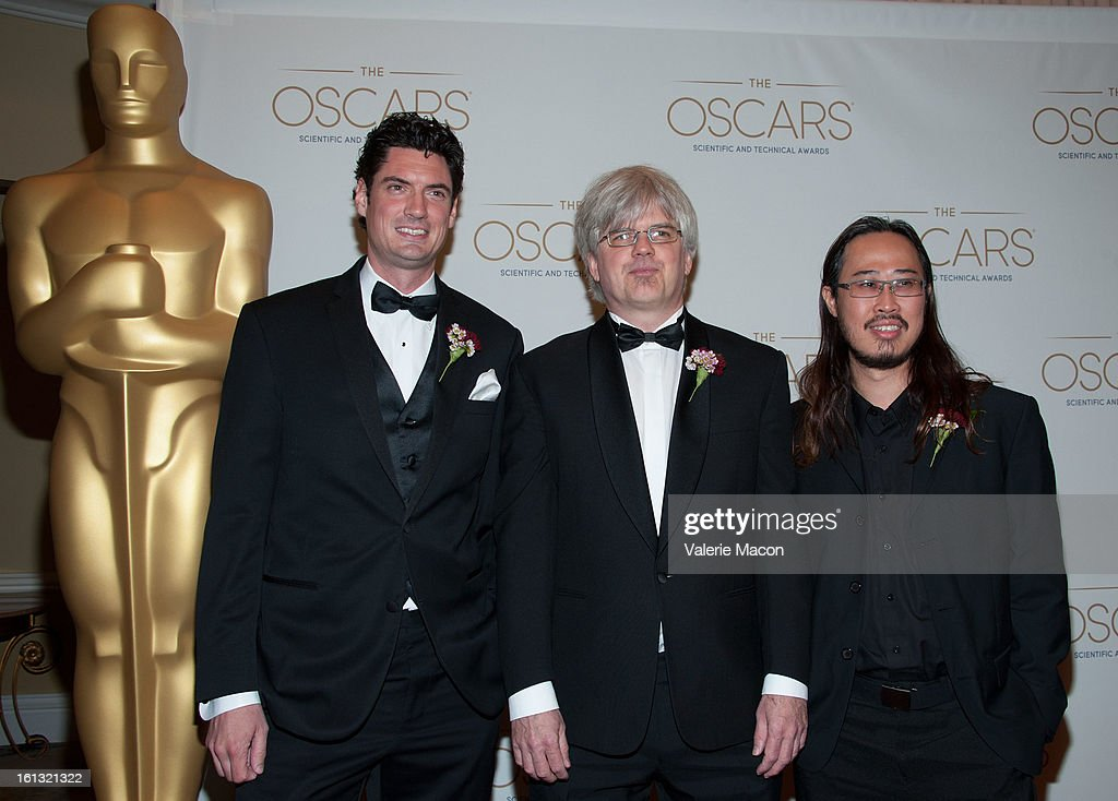 Matt Cordner, J.P. Lewis and Nikson Fong arrives at the Academy Of Motion Picture Arts And Sciences' Scientific & Technical Awards at Beverly Hills Hotel on February 9, 2013 in Beverly Hills, California.