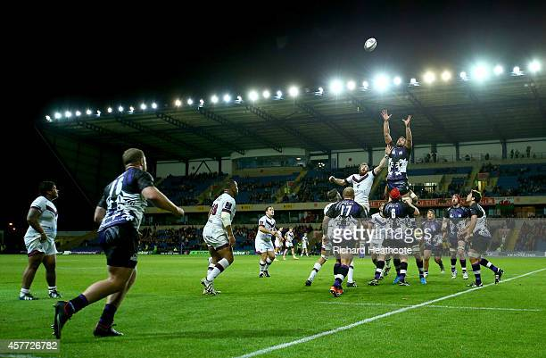 Matt Corker of Welsh wins a lineout during the European Rugby Challenge Cup match between London Welsh and Bordeaux Begles at the Kassam Stadium on...