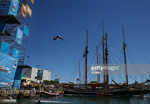 Matt Cowen of Great Britain competes during the Men's 27m High Diving on day ten of the 15th FINA World Championships at Moll de la Fusta on July 29...