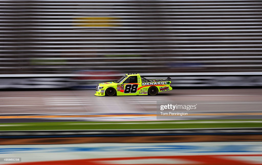 Matt Crafton driver of the Damp Rid/Menards Toyota practices for the NASCAR Camping World Truck Series Winstar World Casino and Resort 350 at Texas...