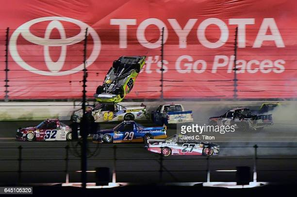 Matt Crafton driver of the Goof Off/Menards Toyota flips during the NASCAR Camping World Truck Series NextEra Energy Resources 250 at Daytona...