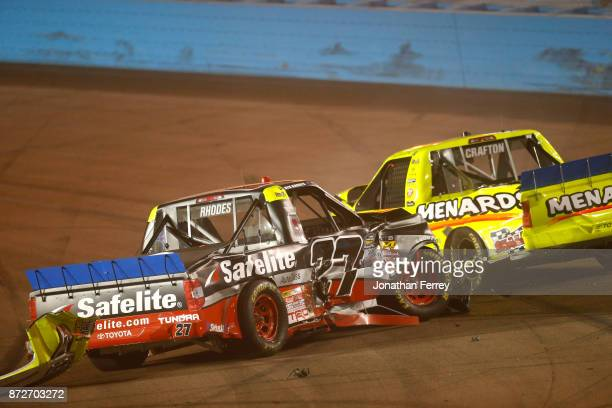 Matt Crafton driver of the Ideal Door/Menards Toyota and Ben Rhodes driver of the Safelite Auto Glass Toyota crash during the NASCAR Camping World...