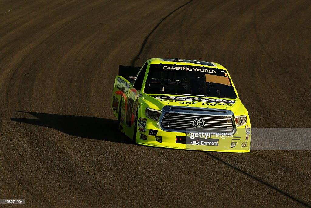 Matt Crafton driver of the Ideal Door/Menards Toyota drives during qualifying for the NASCAR Camping World Truck Series Ford EcoBoost 200 at...