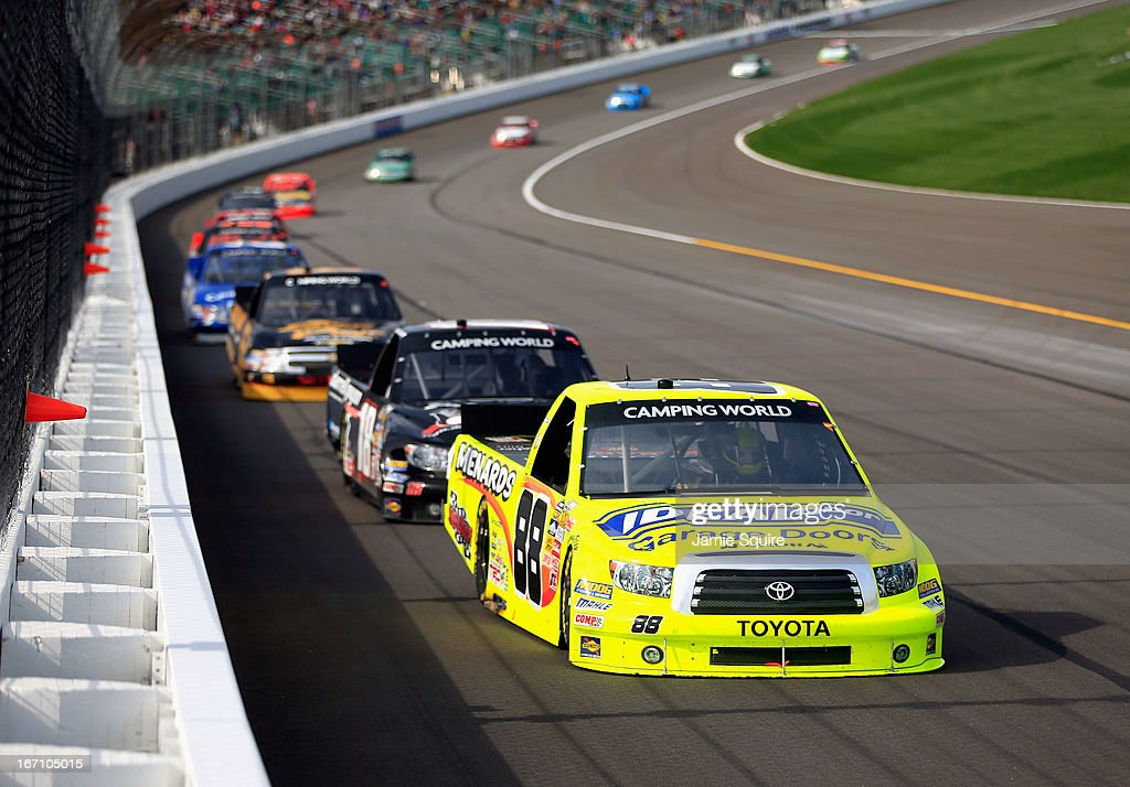 <a gi-track='captionPersonalityLinkClicked' href=/galleries/search?phrase=Matt+Crafton&family=editorial&specificpeople=561821 ng-click='$event.stopPropagation()'>Matt Crafton</a>, driver of the #88 Ideal Door/Menards Toyota, leads a group of trucks during the NASCAR Camping World Truck Series SFP 250 at Kansas Speedway on April 20, 2013 in Kansas City, Kansas.