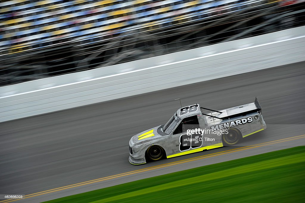 <a gi-track='captionPersonalityLinkClicked' href=/galleries/search?phrase=Matt+Crafton&family=editorial&specificpeople=561821 ng-click='$event.stopPropagation()'>Matt Crafton</a> drives the #88 Thorsport Toyota during NASCAR Preseason Thunder at Daytona International Speedway on January 14, 2014 in Daytona Beach, Florida.