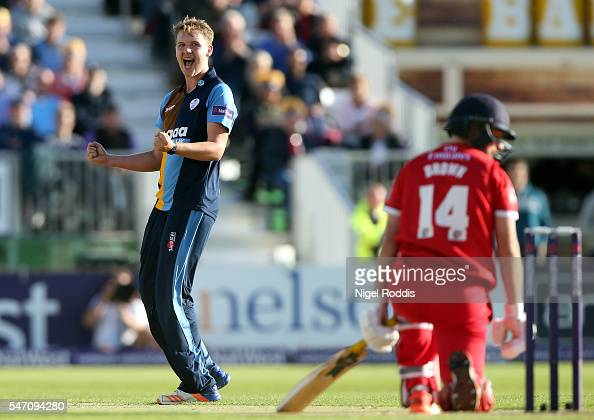 Matt Critchley of Derbyshire Falcons celebrates taking the wicket of Karl Brown of Lancashire Lightning during the NatWest T20 Blast between...