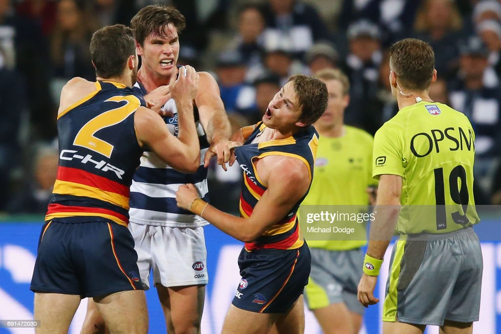 Matt Crouch of the Crows reacts next to teammate Brad Crouch (L) after Tom Hawkins of the Cats wrestles with him during the round 10 AFL match between the Collingwood Magpies and Brisbane Lions at Melbourne Cricket Ground on May 28, 2017 in Melbourne, Australia.