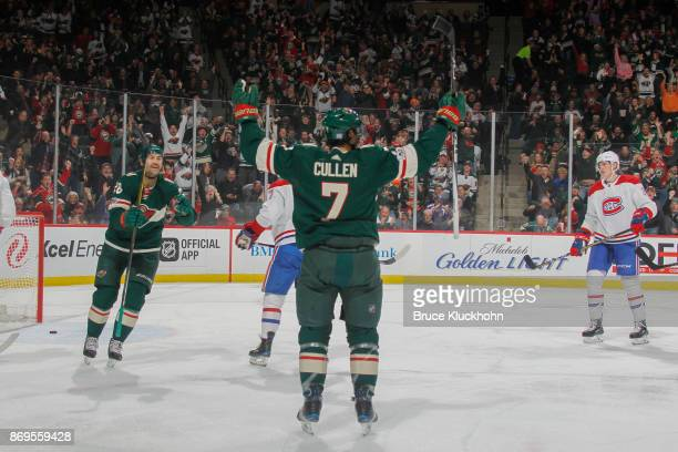 Matt Cullen of the Minnesota Wild celebrates after scoring a goal against the Montreal Canadiens during the game at the Xcel Energy Center on...