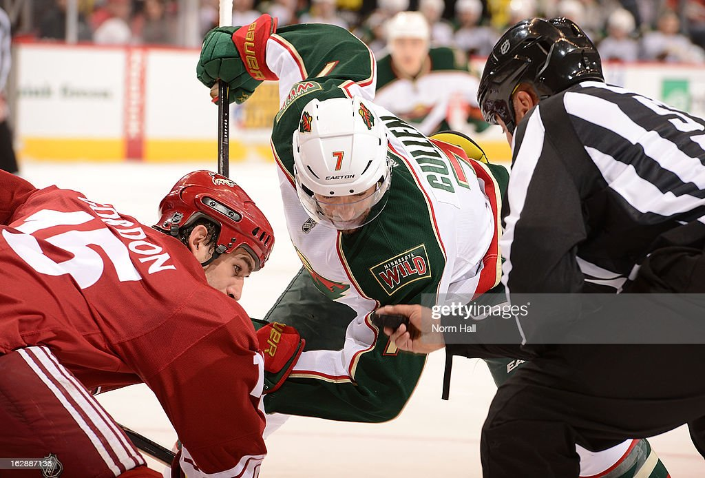 <a gi-track='captionPersonalityLinkClicked' href=/galleries/search?phrase=Matt+Cullen&family=editorial&specificpeople=536122 ng-click='$event.stopPropagation()'>Matt Cullen</a> #7 of the Minnesota Wild takes a face off against <a gi-track='captionPersonalityLinkClicked' href=/galleries/search?phrase=Boyd+Gordon&family=editorial&specificpeople=209395 ng-click='$event.stopPropagation()'>Boyd Gordon</a> #15 of the Phoenix Coyotes during the third period at Jobing.com Arena on February 28, 2013 in Glendale, Arizona.