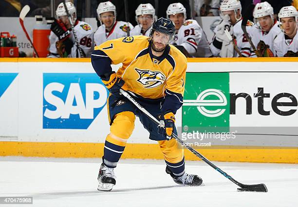 Matt Cullen of the Nashville Predators skates against the Chicago Blackhawks in Game Two of the Western Conference Quarterfinals during the 2015 NHL...