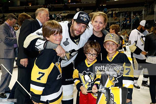 Matt Cullen of the Pittsburgh Penguins celebrates with his family after a 31 victory over the San Jose Sharks in Game Six of the 2016 NHL Stanley Cup...