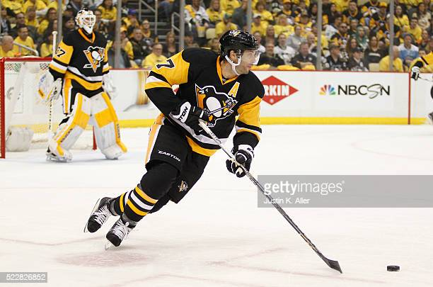 Matt Cullen of the Pittsburgh Penguins in action in Game One of the Eastern Conference First Round during the 2016 NHL Stanley Cup Playoffs against...