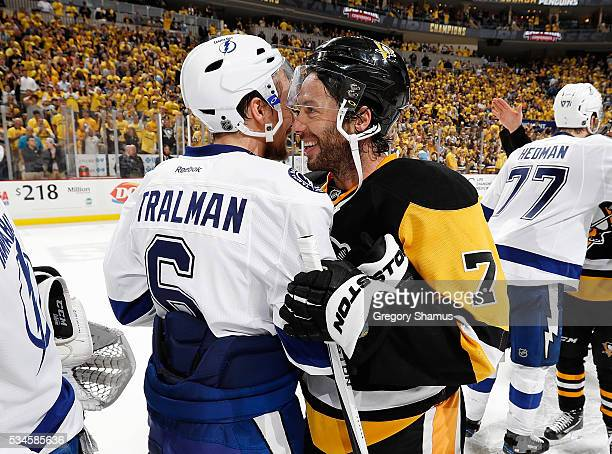 Matt Cullen of the Pittsburgh Penguins shakes hands with Anton Stralman of the Tampa Bay Lightning after a 21 win in Game Seven of the Eastern...