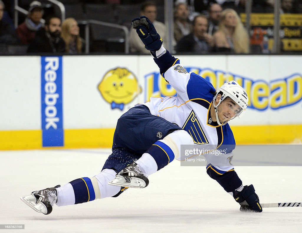 Matt D'Agostini #36 of the St. Louis Blues loses his balance during the game against the Los Angeles Kings at Staples Center on March 5, 2013 in Los Angeles, California.