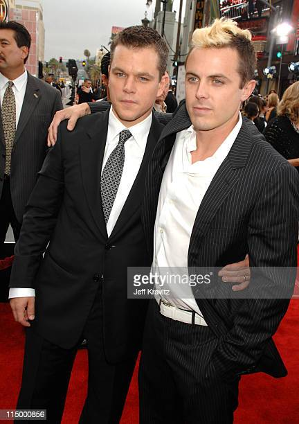 Matt Damon and Casey Affleck during 'Ocean's Thirteen' Los Angeles Premiere Red Carpet at Grauman's Chinese Theater in Hollywood California United...