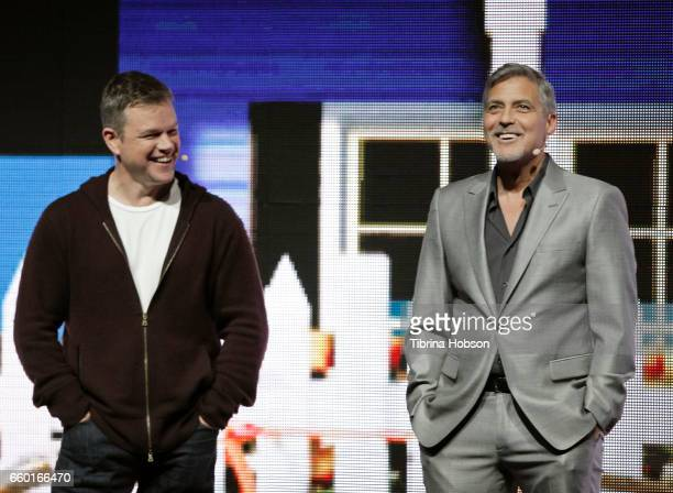 Matt Damon and George Clooney speak at Paramount Pictures' presentation highlighting its 2017 summer and beyond during CinemaCon at The Colosseum at...