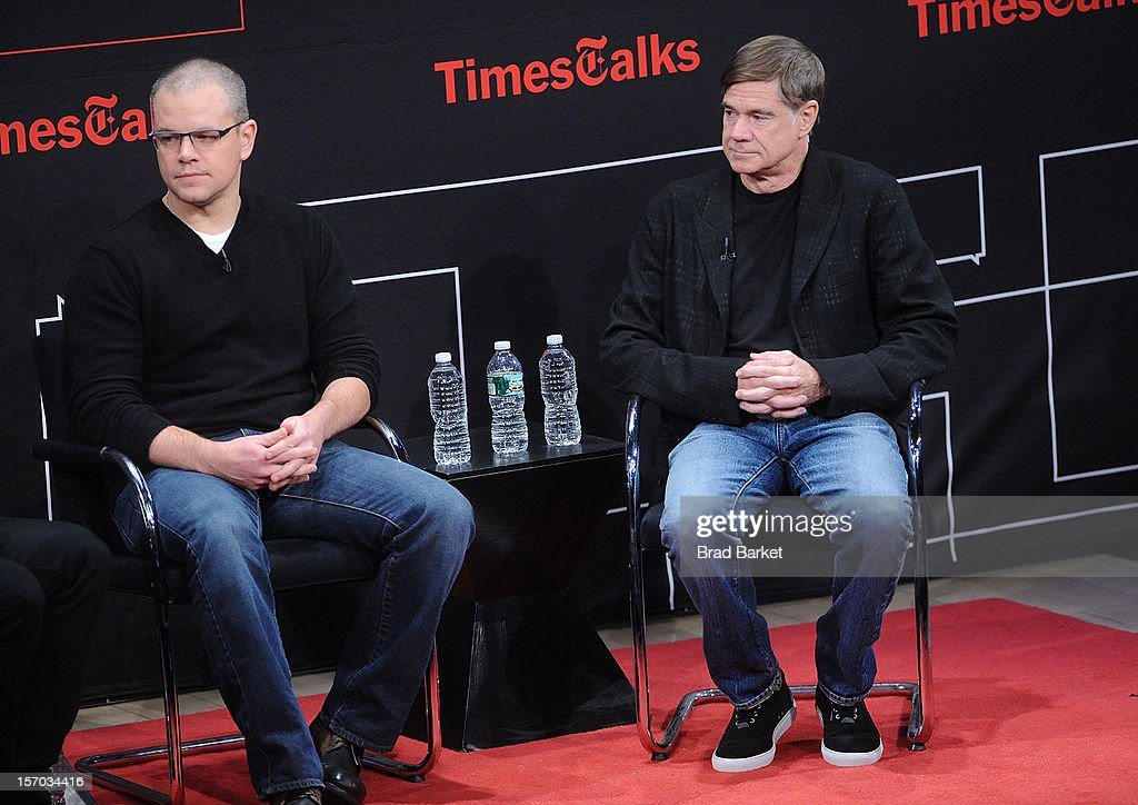 Matt Damon and Gus Van Sant attends TimesTalk Presents An Evening With Marion Cotillard, Matt Damon & Gus Van Sant>> at TheTimesCenter on November 27, 2012 in New York City.
