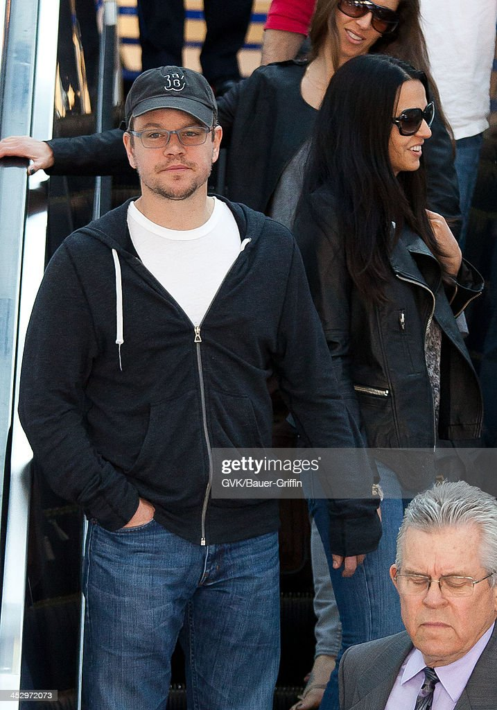 <a gi-track='captionPersonalityLinkClicked' href=/galleries/search?phrase=Matt+Damon&family=editorial&specificpeople=202093 ng-click='$event.stopPropagation()'>Matt Damon</a> and his wife Luciana Barroso are seen arriving at Los Angeles International airport on December 01, 2013 in Los Angeles, California.