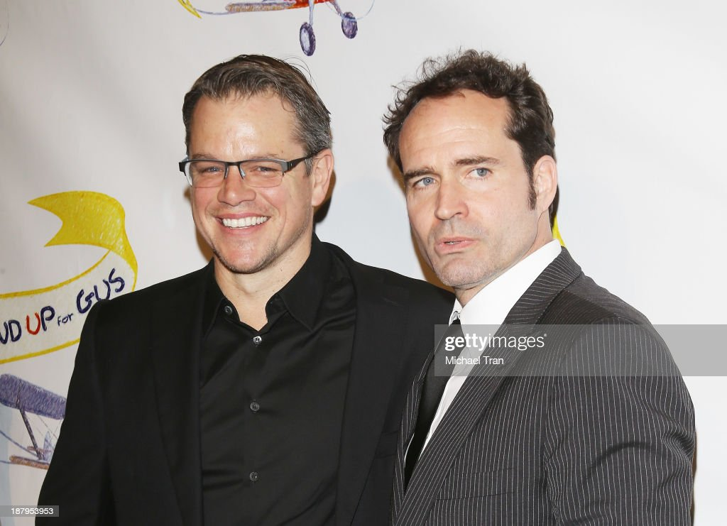 <a gi-track='captionPersonalityLinkClicked' href=/galleries/search?phrase=Matt+Damon&family=editorial&specificpeople=202093 ng-click='$event.stopPropagation()'>Matt Damon</a> (L) and <a gi-track='captionPersonalityLinkClicked' href=/galleries/search?phrase=Jason+Patric&family=editorial&specificpeople=668112 ng-click='$event.stopPropagation()'>Jason Patric</a> arrive at the 'Stand Up For Gus' benefit event held at Bootsy Bellows on November 13, 2013 in West Hollywood, California.