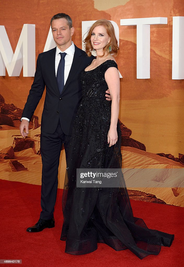 Matt Damon and Jessica Chastain attend the European premiere of 'The Martian' at Odeon Leicester Square on September 24, 2015 in London, England.