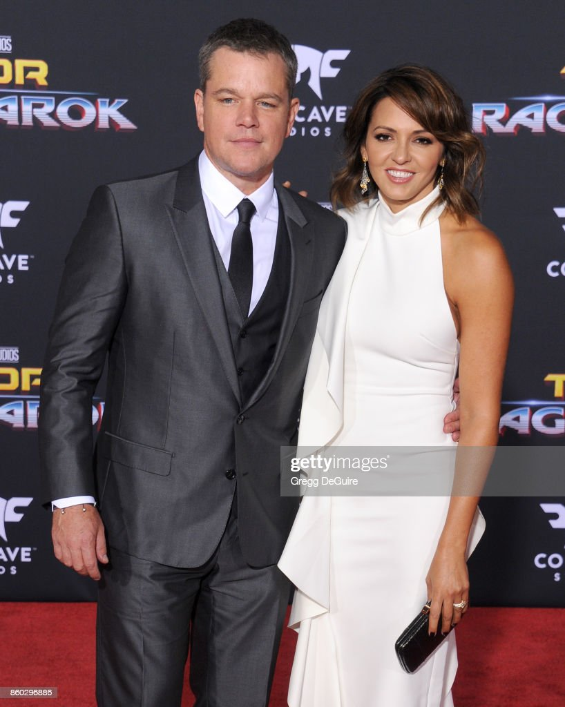 Matt Damon and Luciana Barroso arrive at the premiere of Disney and Marvel's 'Thor: Ragnarok' at the El Capitan Theatre on October 10, 2017 in Los Angeles, California.