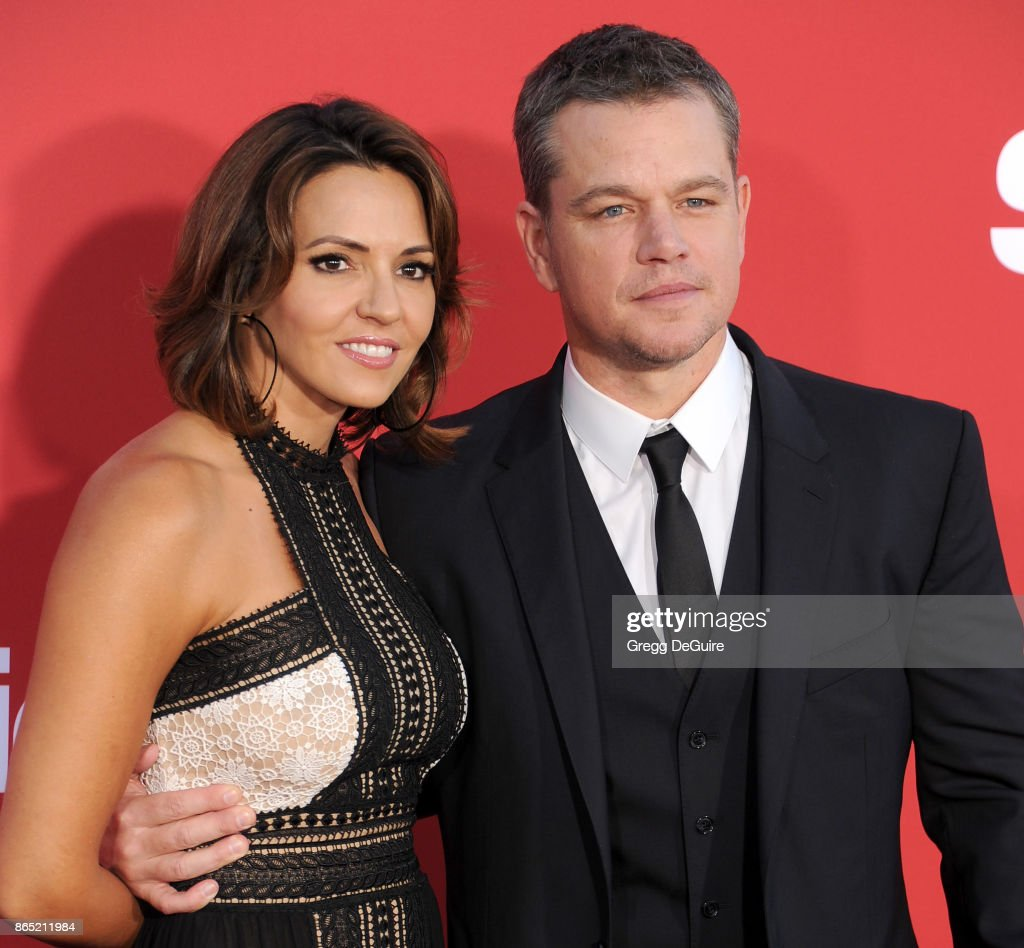 Matt Damon and Luciana Barroso arrive at the premiere of Paramount Pictures' 'Suburbicon' at Regency Village Theatre on October 22, 2017 in Westwood, California.