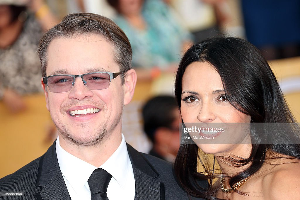 <a gi-track='captionPersonalityLinkClicked' href=/galleries/search?phrase=Matt+Damon&family=editorial&specificpeople=202093 ng-click='$event.stopPropagation()'>Matt Damon</a> (L) and Luciana Barroso arrive at the 20th Annual Screen Actors Guild Awards at the Shrine Auditorium on January 18, 2014 in Los Angeles, California.