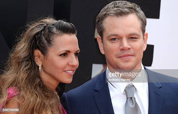 Matt Damon and Luciana Damon attend the European premiere of 'Jason Bourne' at Odeon Leicester Square on July 11 2016 in London England