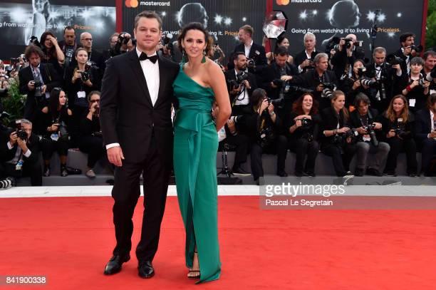 Matt Damon and Luciana Damon walk the red carpet ahead of the 'Suburbicon' screening during the 74th Venice Film Festival at Sala Grande on September...