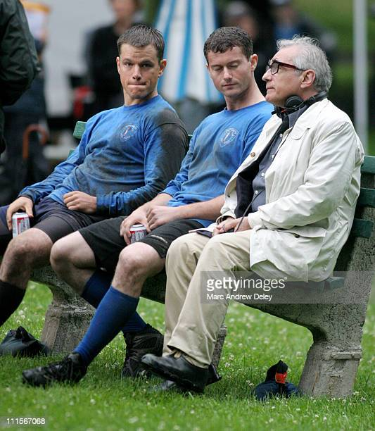 Matt Damon and Martin Scorsese during Matt Damon and Martin Scorsese on Location for ''The Departed'' in Boston Mass July 7 2005 at Boston Commons in...