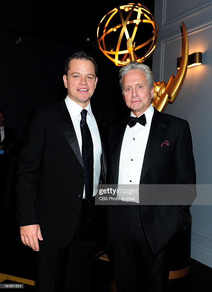 <a gi-track='captionPersonalityLinkClicked' href=/galleries/search?phrase=Matt+Damon&family=editorial&specificpeople=202093 ng-click='$event.stopPropagation()'>Matt Damon</a> and <a gi-track='captionPersonalityLinkClicked' href=/galleries/search?phrase=Michael+Douglas&family=editorial&specificpeople=171111 ng-click='$event.stopPropagation()'>Michael Douglas</a> at the 65th Primetime Emmy Awards, which will be broadcast live across the country 8:00-11:00 PM ET/ 5:00-8:00 PM PT from NOKIA Theater L.A. LIVE in Los Angeles, Calif., on Sunday, Sept. 22 on the CBS Television Network.