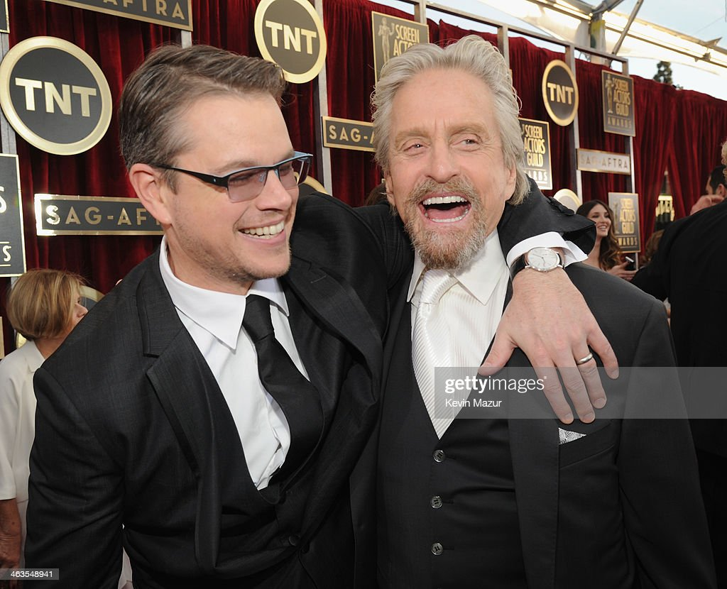 Matt Damon and Michael Douglas attend 20th Annual Screen Actors Guild Awards at The Shrine Auditorium on January 18, 2014 in Los Angeles, California.