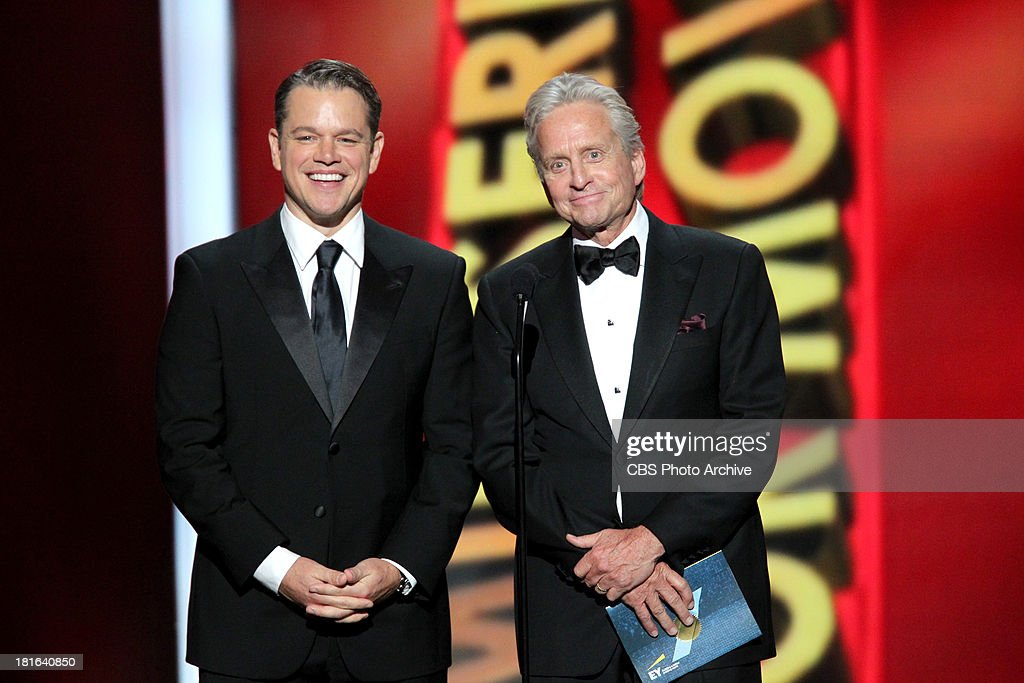 <a gi-track='captionPersonalityLinkClicked' href=/galleries/search?phrase=Matt+Damon&family=editorial&specificpeople=202093 ng-click='$event.stopPropagation()'>Matt Damon</a> and <a gi-track='captionPersonalityLinkClicked' href=/galleries/search?phrase=Michael+Douglas&family=editorial&specificpeople=171111 ng-click='$event.stopPropagation()'>Michael Douglas</a> during the 65th Primetime Emmy Awards which will be broadcast live across the country 8:00-11:00 PM ET/ 5:00-8:00 PM PT from NOKIA Theater L.A. LIVE in Los Angeles, Calif., on Sunday, Sept. 22 on the CBS Television Network.