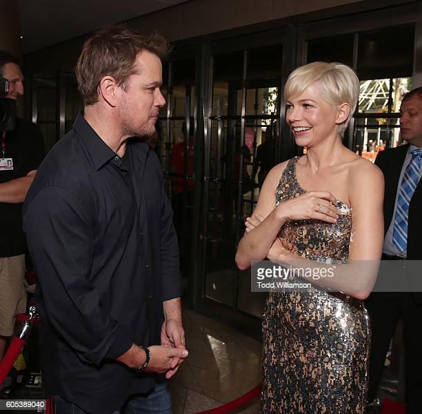 Matt Damon and Michelle Williams attend Amazon Studios' 'Manchester By The Sea' Toronto International Film Festival Premiere at Princess of Wales...