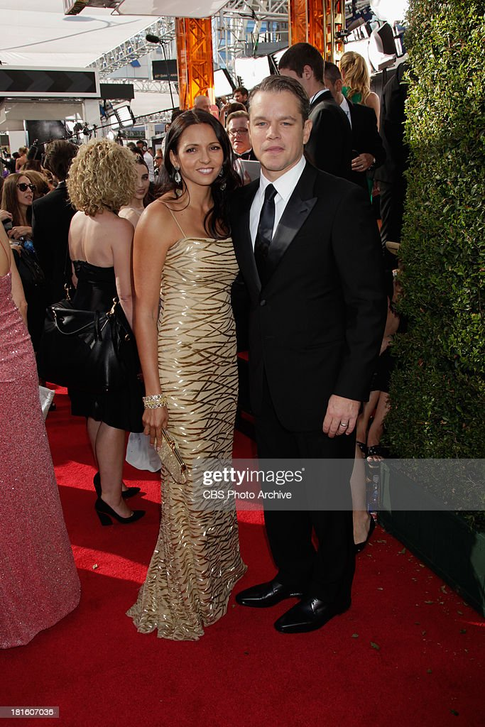 Matt Damon and wife Luciana Damon on the red carpet for the 65th Primetime Emmy Awards, which will be broadcast live across the country 8:00-11:00 PM ET/ 5:00-8:00 PM PT from NOKIA Theater L.A. LIVE in Los Angeles, Calif., on Sunday, Sept. 22 on the CBS Television Network.