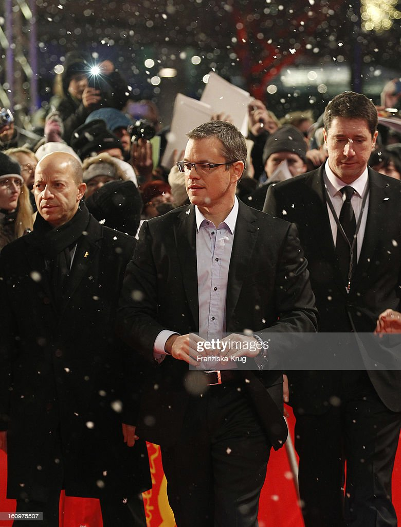 <a gi-track='captionPersonalityLinkClicked' href=/galleries/search?phrase=Matt+Damon&family=editorial&specificpeople=202093 ng-click='$event.stopPropagation()'>Matt Damon</a> arrives at the 'Promised Land' Premiere - BMW at the 63rd Berlinale International Film Festival at the Berlinale Palast on February 8, 2013 in Berlin, Germany.