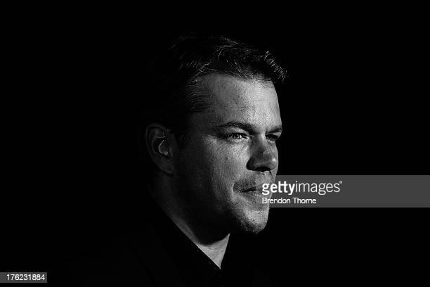 Matt Damon arrives for the 'Elysium' Australian premiere at Event Cinemas George Street on August 12 2013 in Sydney Australia