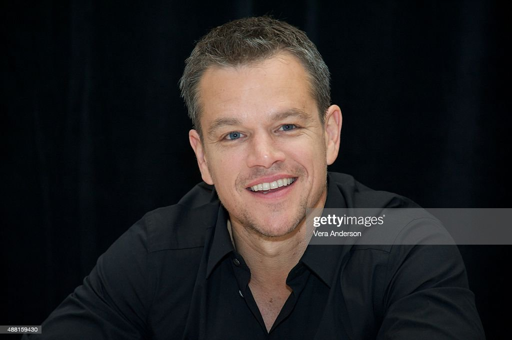 <a gi-track='captionPersonalityLinkClicked' href=/galleries/search?phrase=Matt+Damon&family=editorial&specificpeople=202093 ng-click='$event.stopPropagation()'>Matt Damon</a> at 'The Martian' Press Conference at the Ritz Carlton on September 11, 2015 in Toronto, Ontario.